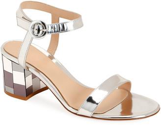 Gianvito Rossi Mirrored Block-Heel Metallic Sandals