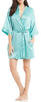 Cassandra Dotted Satin Kimono Wrap Robe