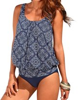 Crazycatz@Women Two Piece Blouson Sporty Tankini Set Floral Swimwear