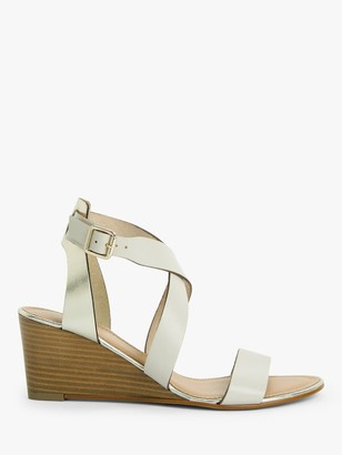 John Lewis & Partners Karen Leather Stacked Heel Wedge Sandals