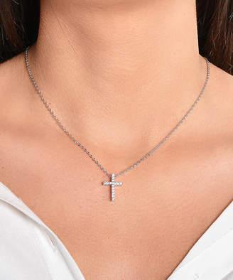 Swarovski Golden Moon Women's Necklaces Silver - Silvertone Cross Pendant Necklace With Crystals