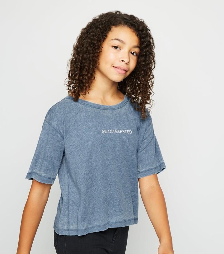 New Look Girls 0% Interested Slogan T-Shirt