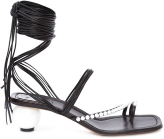 J.W.Anderson Pearl wrap ankle sandals