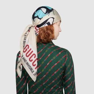 Gucci Silk scarf with masks print