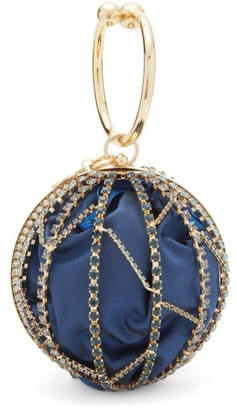 Rosantica Alice Crystal-embellished Caged Clutch - Blue Multi