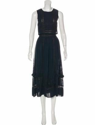 Ulla Johnson Crew Neck Long Dress Blue