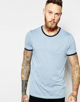 Asos T-shirt With Contrast Neck - Blue