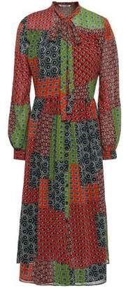Walter Baker Pussy-bow Printed Crepe Midi Dress