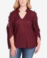 Jessica Simpson Trendy Plus Size Bruina Cold-Shoulder Flutter Blouse