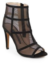 French Connection Quanna Suede & Mesh Caged Open-Toe Ankle Boots