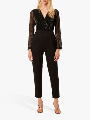 French Connection Rubina Jersey Embellished Jumpsuit, Black