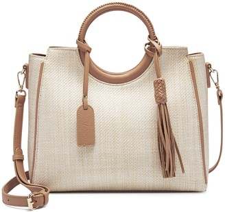 Sole Society Women's Day Satchel Ring In Color: Natural Combo2 Bag PU Genuine Suede From