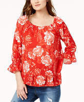 INC International Concepts I.n.c. Petite Printed Peasant Top, Created for Macy's