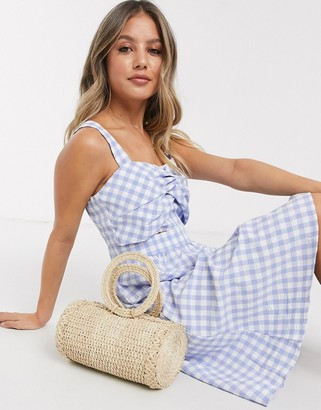 Gilli skater dress with twist front detail in blue gingham