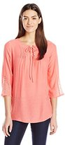 NY Collection Women's Three Quarter-Sleeve Sold Lace-Up Top