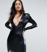 Club L London V Neck High Shine Mini Dress With Shoulder Pads