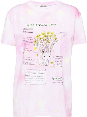Miu Miu Wild Flower Rabbit print T-shirt