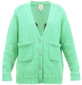 JoosTricot Smiley-embroidered Wool-blend Cardigan - Womens - Light Green