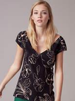 Diane von Furstenberg Short Sleeve V-Neck Blouse