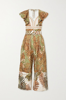 PatBO Palmeira Belted Printed Woven Jumpsuit - Neutral