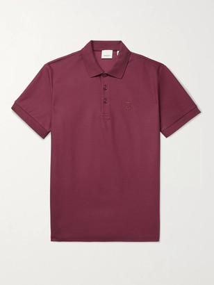 Burberry Logo-Embroidered Cotton-Pique Polo Shirt