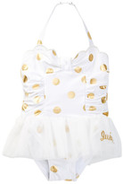 Juicy Couture Foil Dot Skirted One Piece Swimsuit (Toddler Girls)