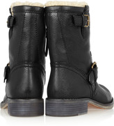 Marc by Marc Jacobs Shearling-lined leather biker boots