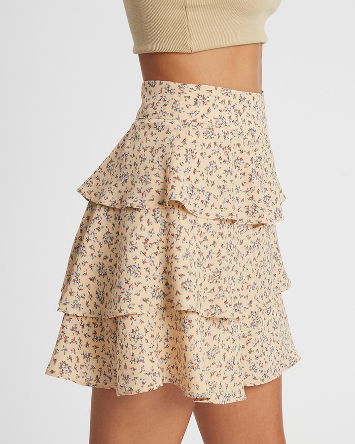 Thumbnail for your product : Calli - Women's Neutrals Mini skirts - Tellia Layered Skirt - Size 14 at The Iconic