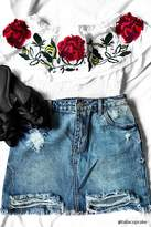 Forever 21 Rose Embroidered Flounce Top