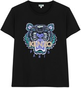 Kenzo Black Tiger-embroidered Cotton T-shirt