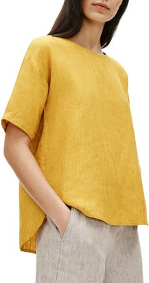Eileen Fisher Linen Boxy Elbow Sleeve Top