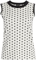 Saks Fifth Avenue Silk & Cashmere Polka Dot Jacquard Top