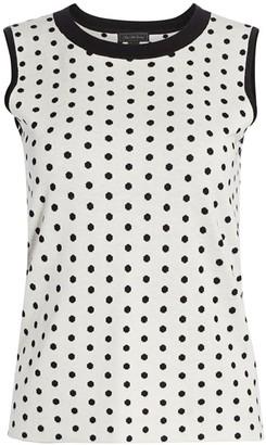 Saks Fifth Avenue COLLECTION Silk & Cashmere Polka Dot Jacquard Top