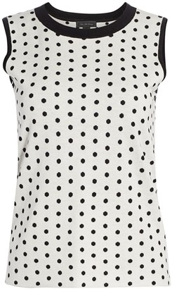 Saks Fifth Avenue Silk & Cashmere Polka Dot Jacquard Top