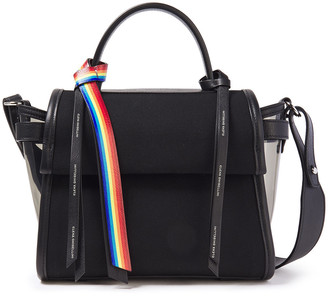 Elena Ghisellini Angel Small Leather-trimmed Pvc-paneled Cotton-canvas Shoulder Bag