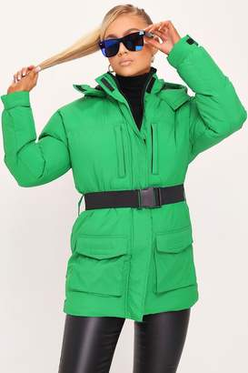 I SAW IT FIRST Green Belted Padded Coat