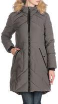 Guess Faux Fur Trim Mid-Length Parka Coat
