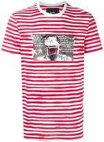 Blood Brother glitched face print striped T-shirt