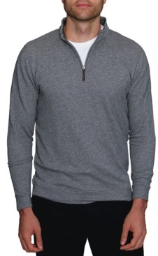 Tailorbyrd Men's Twill Knit Cotton Quarter-Zip Pullover