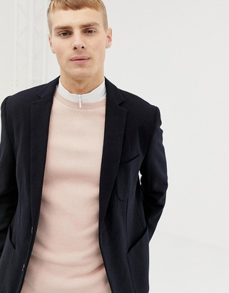 Selected slim fit patch pocket blazer with recycled wool