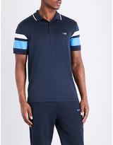 HUGO BOSS Striped slim-fit cotton-blend polo shirt