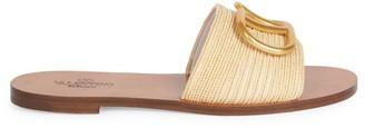 Valentino VLogo Raffia Slide Sandals