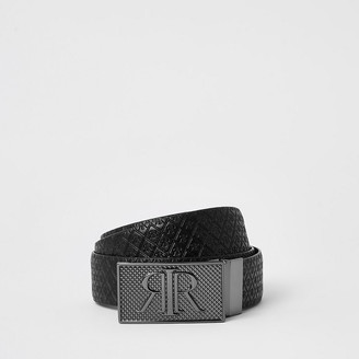 River Island Black RIR monogram buckle reversible belt