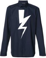 Neil Barrett lightning bolt print shirt - men - Cotton - 42
