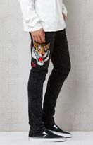 PacSun Embroidered Tiger Skinny Washed Black Jeans