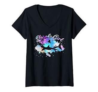 Womens SHARK GIRL Vintage Retro Beach Lover Watercolor Women Kids V-Neck T-Shirt