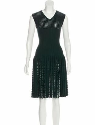 Alaia Wool Open Knit Dress green