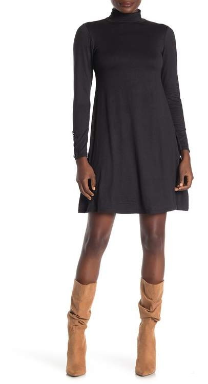 Velvet Torch Mock Neck Long Sleeve Jersey Dress