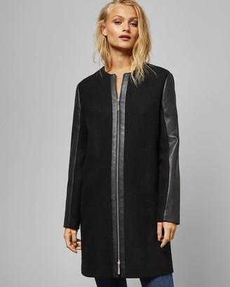 Ted Baker Faux Leather Sleeve Wool Coat