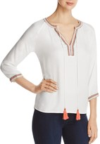 Vero Moda Embroidered Trim Peasant Top